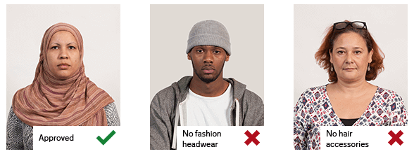 examples of incorrect headwear and accessories for taking passport photos at home with your mobile phone