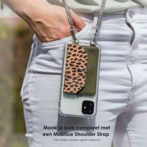 My Style Crossbody Stick-On Phone Pocket with RFID Green Leopard