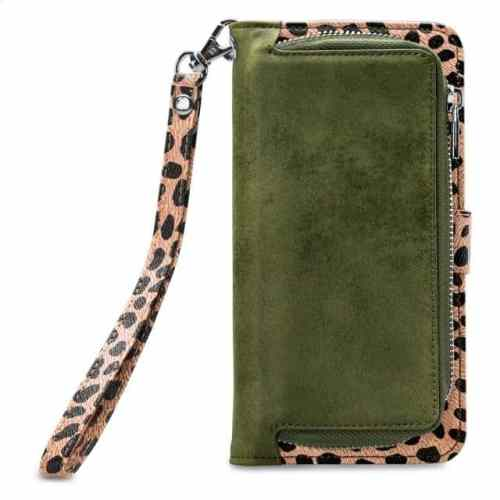 Mobilize 2in1 Magnet Zipper Case Apple iPhone 12/12 Pro Olive/Leopard