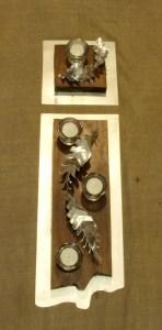 Centros de mesa Cardusk Escultura realizada en chapa de aluminio y madrea reciclada