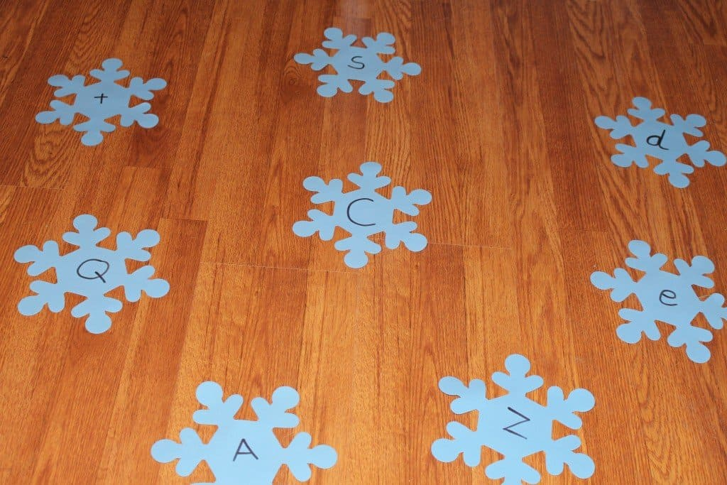 Letter Identification and Snowflake Ball Toss Kids Preschool Activity Mom Explores the Smokies