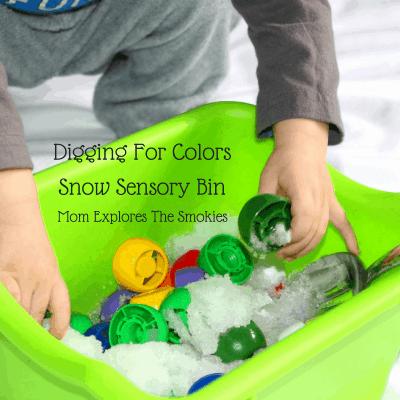 Digging for Colors: Snow Sensory Bin