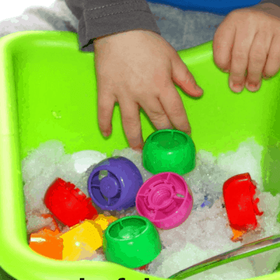 Snow Sensory Bin: Digging for Colors