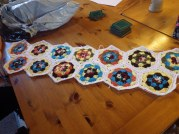 Hexagons by Katy, edging by me, sewn together by Denise and Sue