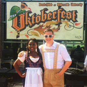 Deutschklub president Irena Riley and treasurer Aaron Jaffe pose together in traditional German garb. (Aaron Jaffe/Snapper)