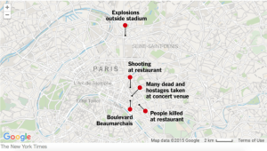 Many locations were involved in the attack. Photo courtesy of The New York Times