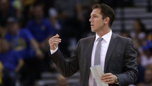 Luke Walton fills in the head coach position while Steve Kerr is out. Photo courtesy of nbcsports.com.