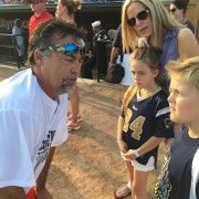 Photo of Coach Jeff Fisher and the Gebel children before the game.