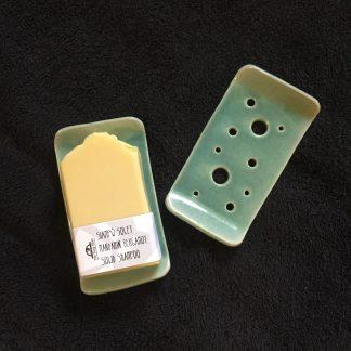 Aqua coloured rectangular soap dish