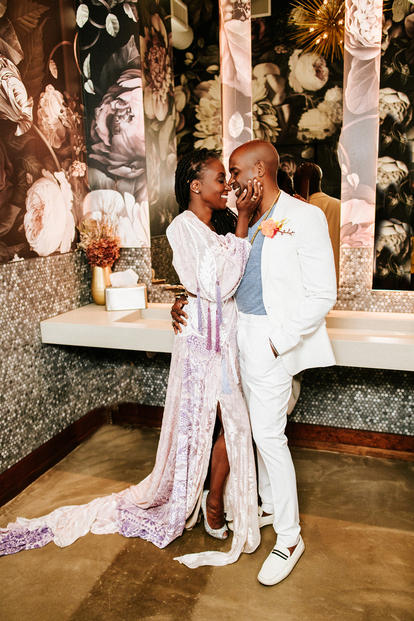 Black couple's first look at their San Diego elopement