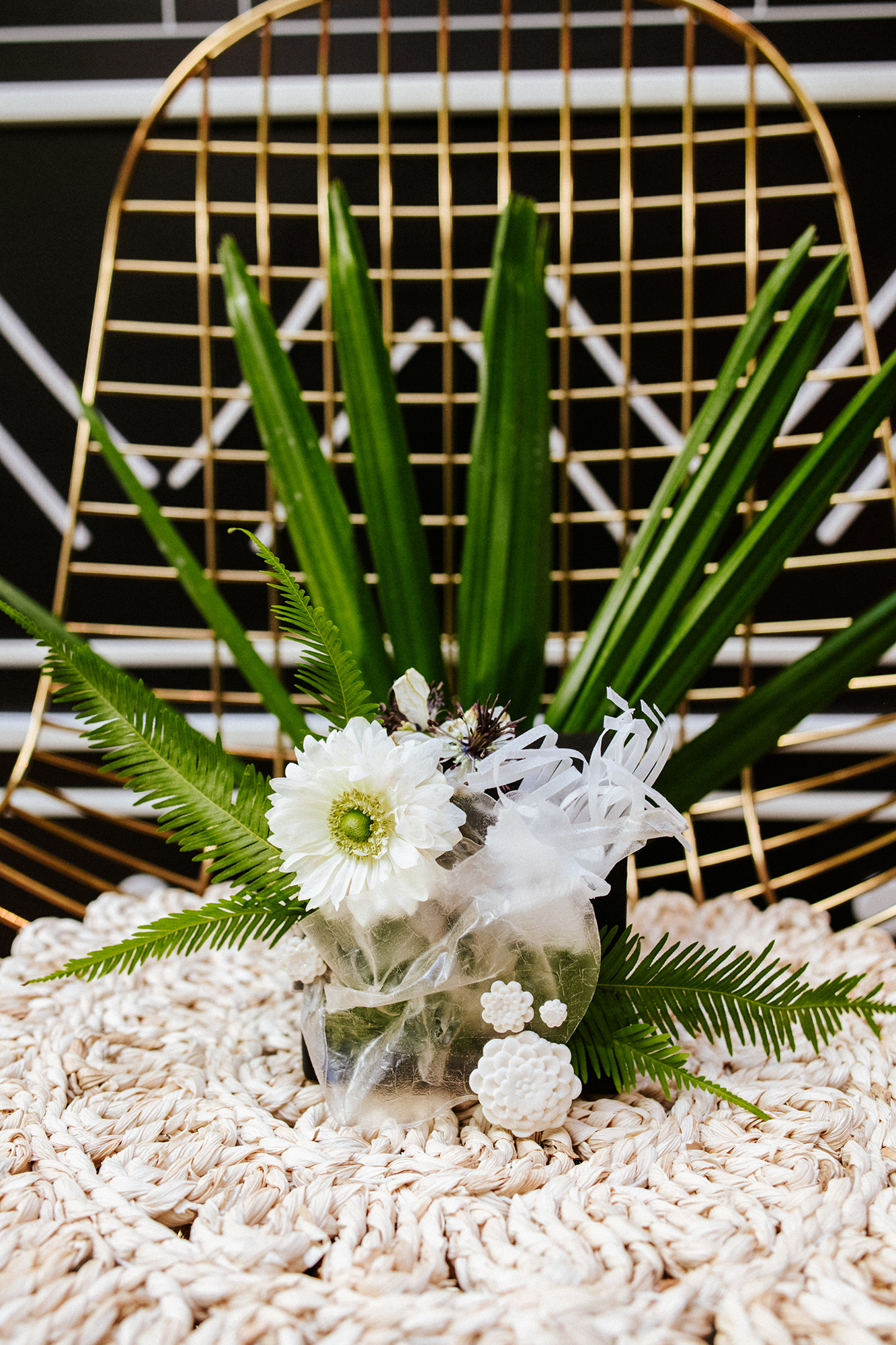 Modern florals for a black and white elopement in San Diego