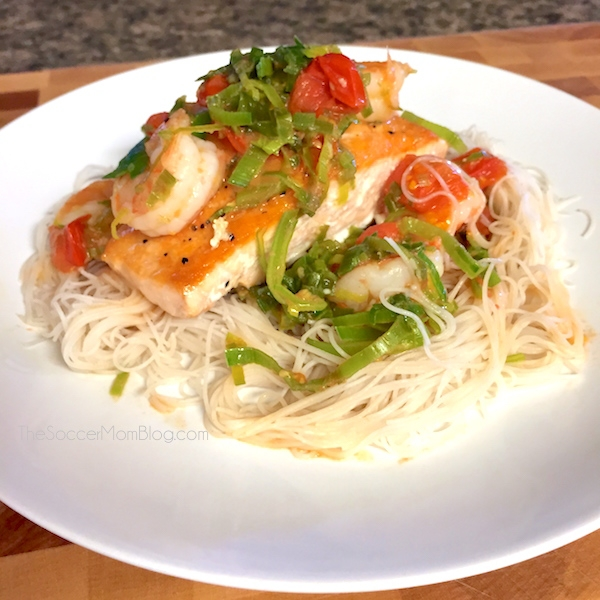 The Rodriguez Family Favorite: Light and Healthy Citrus Leek Salmon and Shrimp