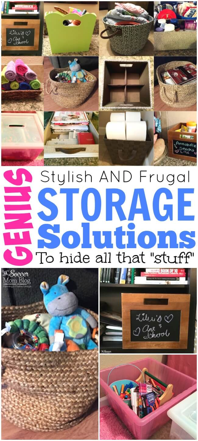 """Sometimes I don't have time to spend hours cleaning & organizing, so these are my tricks to hide all that """"stuff"""" in plain sight! Genius storage solutions for home, kitchen, bathroom, kids room, and more!"""