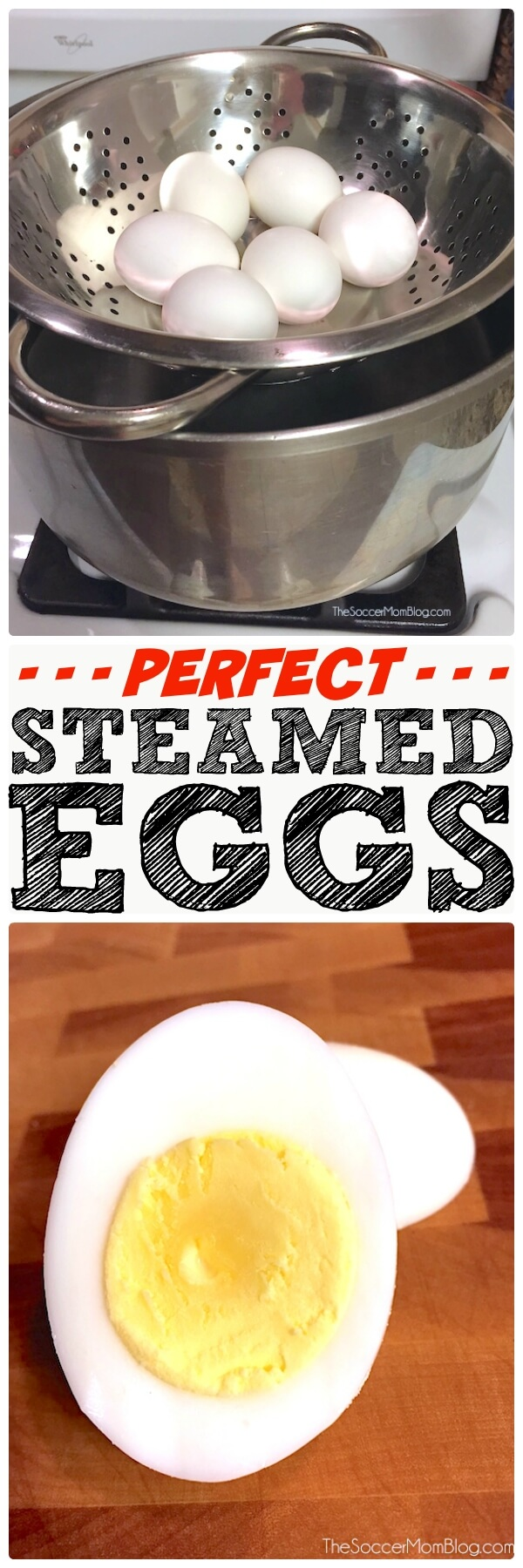 "You're going to love this easy kitchen hack for perfect ""hard-boiled eggs"" every time! Step-by-step photo recipe teaches how to steam eggs."