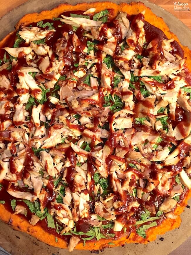 Sweet Potato Crust Pizza with BBQ Chicken