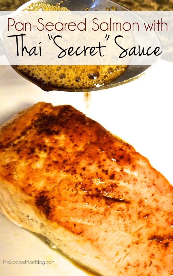 """Why does Thai food taste so amazing? This """"secret"""" sauce might just be the answer! A incredibly simple and flavorful recipe for Pan-Seared Thai Salmon, plus 5 other Thai favorites!"""