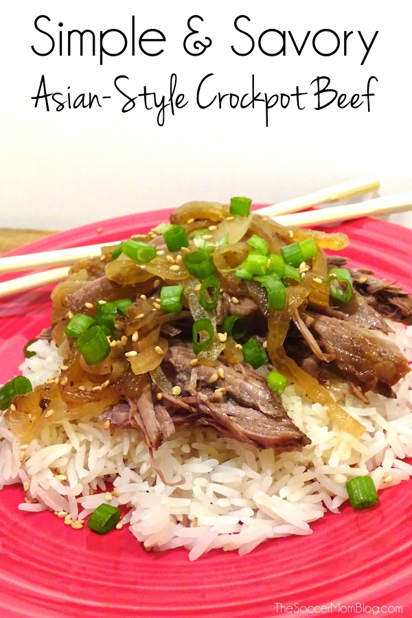 This Asian Style Crockpot Beef Recipe is so simple, yet so full of flavor! And you'll never guess the secret ingredient! #AHugeSale #ad