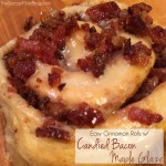 Easy Cinnamon Rolls with Candied Bacon & Maple Glaze