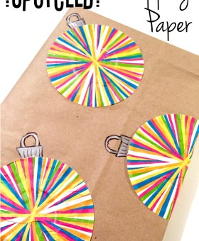 Christmas Upcycled Wrapping Paper with Cupcake Liners