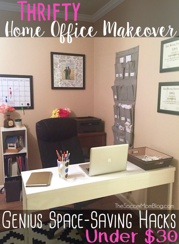 You CAN do complete home office makeover without spending a lot of money! Check out these near-genius office organization hacks to do on the cheap! (under $30!)