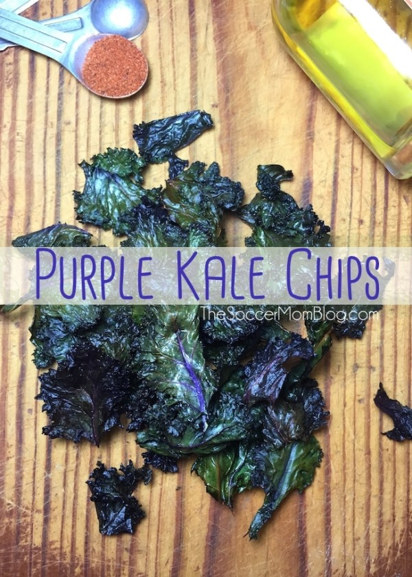 Forget paying $10/bag in a specialty store! Make your own super-healthy, delicious, and GORGEOUS baked purple kale chips at home with this simple recipe!