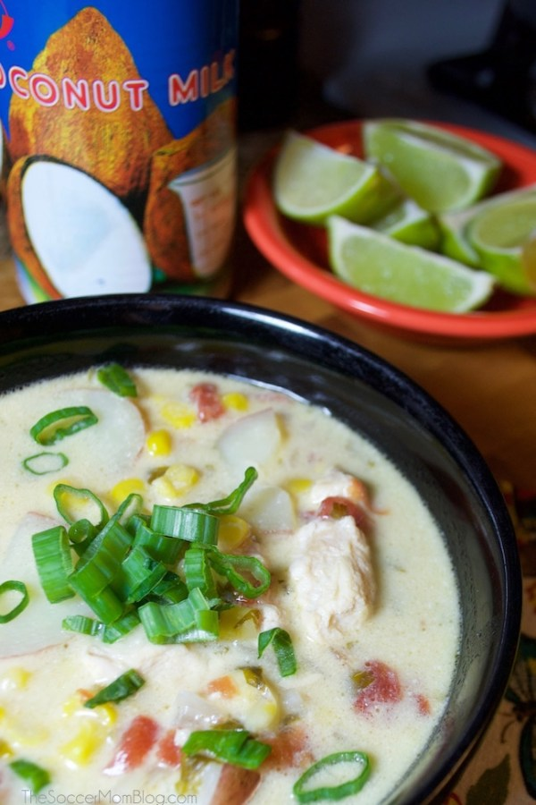 This flavorful Thai Corn Chowder is the perfect weeknight recipe! Easy (a one-pot meal), healthy, and made from inexpensive pantry staples!