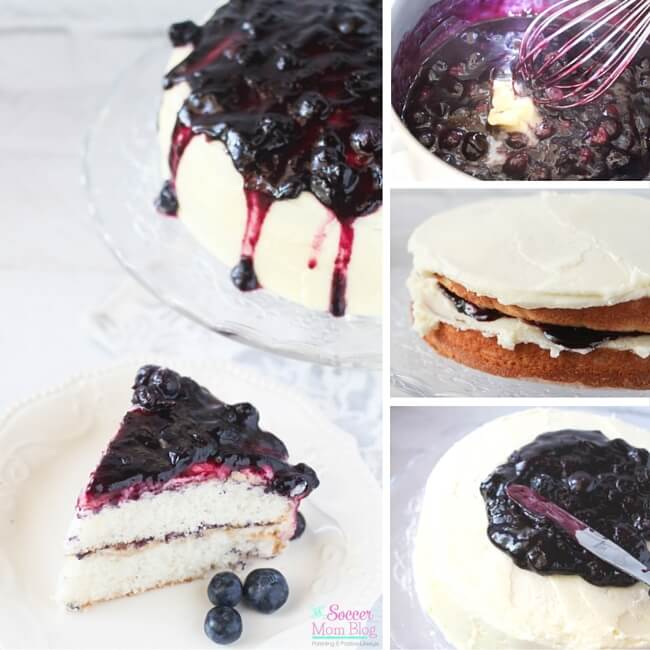 Sweet-and-tart, sticky blueberry pie topping over luscious vanilla buttercream frosting & soft vanilla cake — Blueberry Pie Cake is a truly perfect dessert!