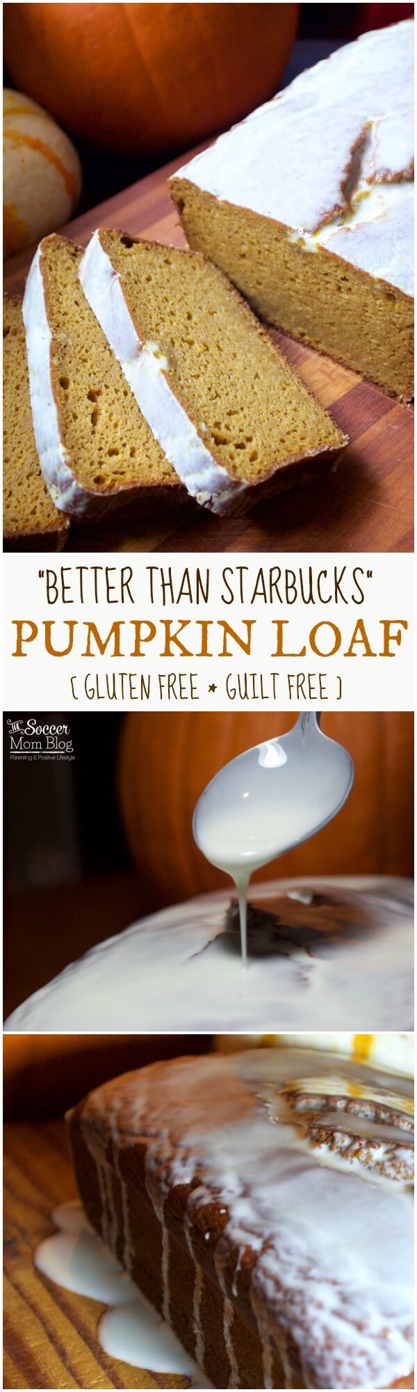"""Gluten free and guilt free """"Better than Starbucks Pumpkin Loaf"""" is moist, decadent, and made with healthy ingredients - Topped with """"magic"""" coconut oil white chocolate glaze. A holiday dessert you can feel GOOD about!"""