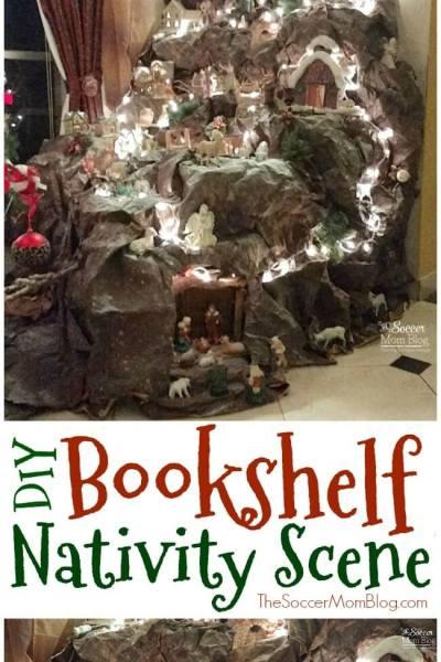 Upcycled Bookshelf DIY Nativity Scene