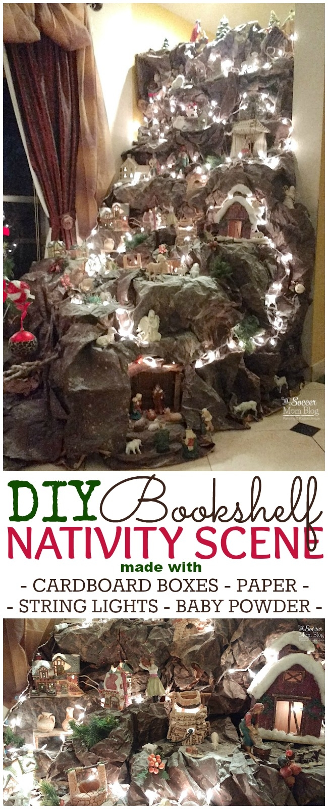 This DIY Nativity Scene is absolutely stunning - it will be the centerpiece of your Christmas decor! Made with simple household items and a bookshelf!