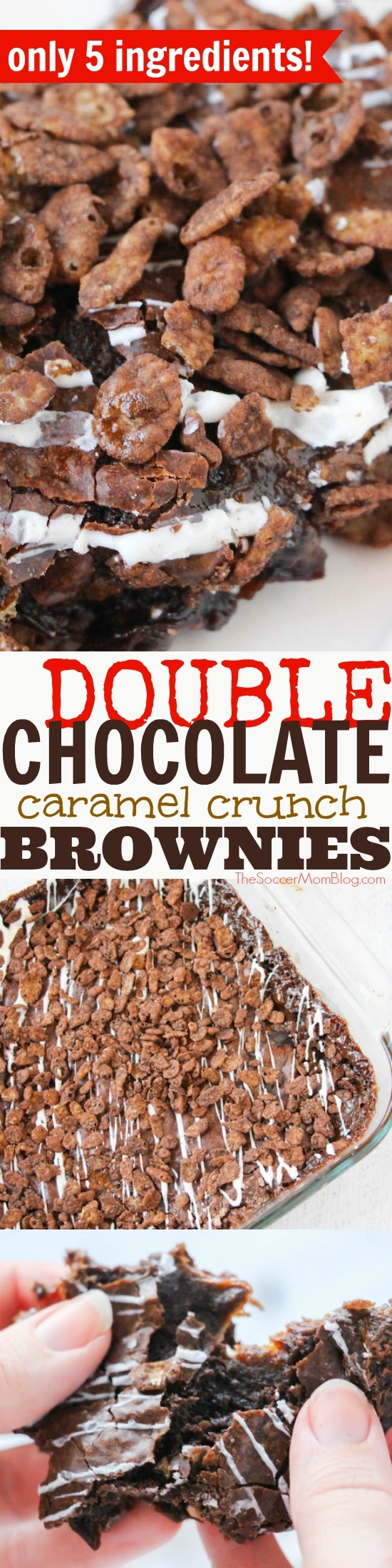 """""""The best brownies ever!"""" These Double Chocolate Caramel Crunch Brownies win high praise and leave no leftovers! Easy holiday dessert recipe box brownie mix hack."""