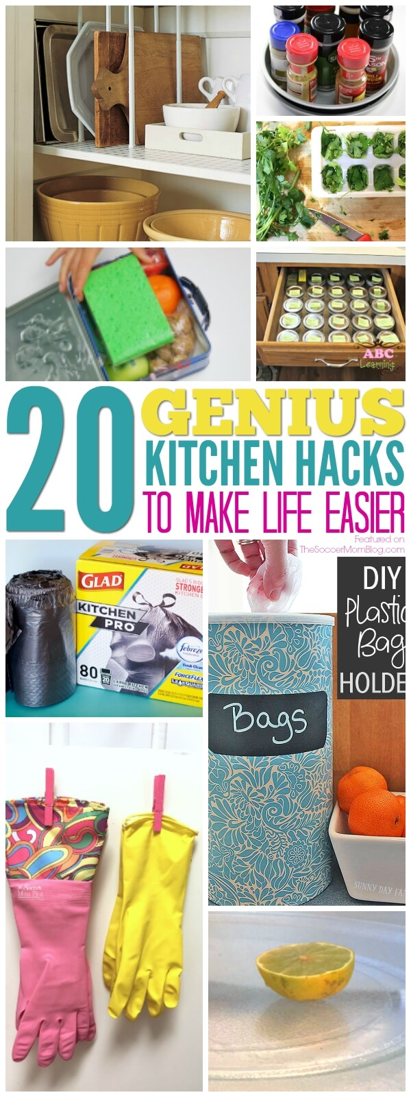 Save time, tackle clutter, and make life a little bit easier with these genius kitchen hacks from top home bloggers! Storage, organization, cleaning & more!