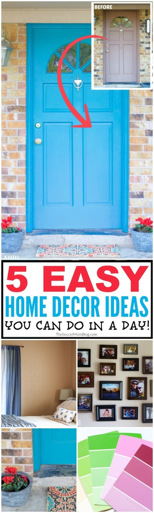 Even if you live in a rental home or apartment, you can still make it beautiful! 5 fast & easy home decor ideas you can DIY...even on a tight budget!