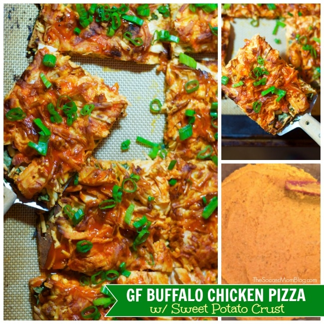 A new twist on our most popular recipe EVER, Buffalo Chicken Pizza with Sweet Potato Crust is healthy, spicy, & totally satisfying! gluten free & dairy free