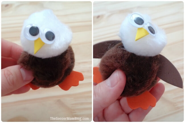 Cute-as-pie and only minutes to make! This Pom-Pom Bald Eagle Craft is the perfect easy holiday kids activity or summer art project!