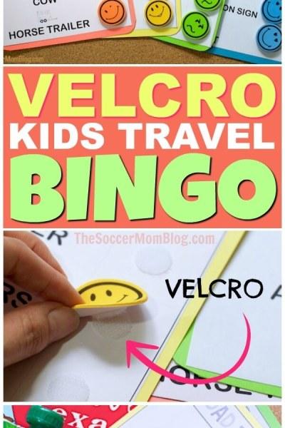 Velcro Road Trip Bingo Travel Game (Free Printables)