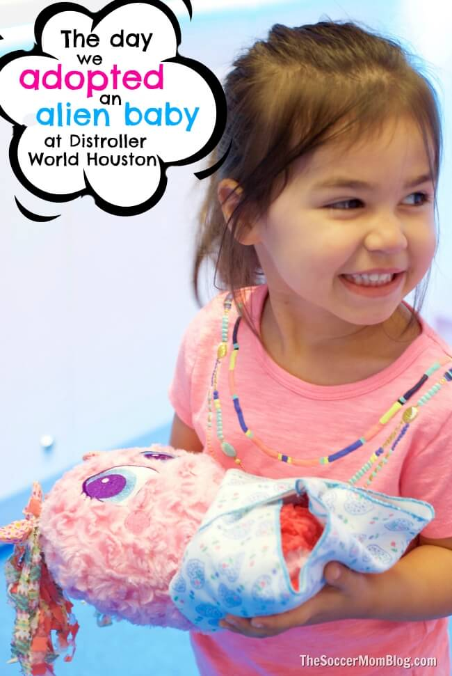 How your child can adopt an Alien Neonate Baby at Distroller World Houston, plus the benefits of pretend play with dolls.