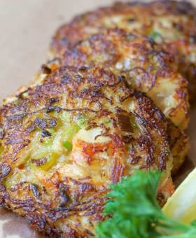 Gluten Free Crab Cakes made with Spaghetti Squash
