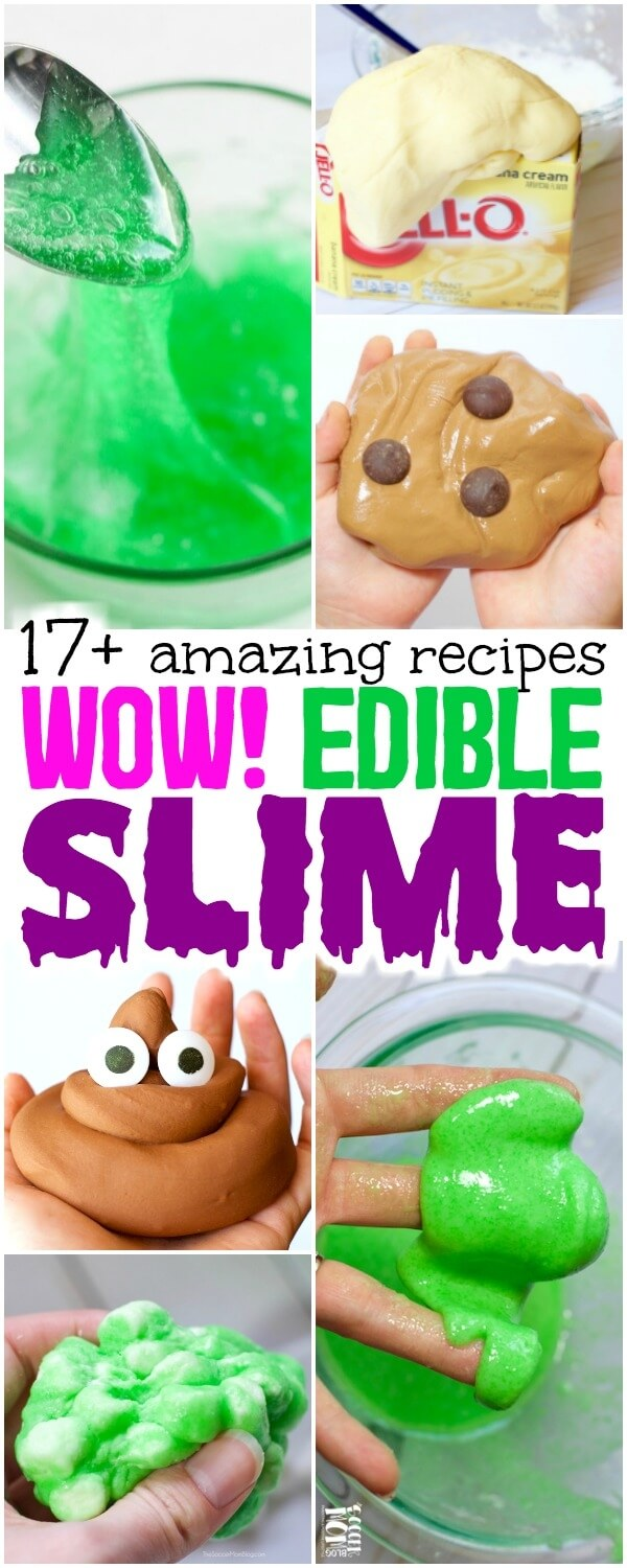 HUGE list of awesome edible slime recipes for kids of all ages - made with simple kitchen ingredients! (NO glue, NO borax, NO toxic chemicals)