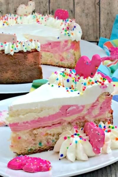Funfetti Cheesecake with Animal Cookie Cake Bottom Crust