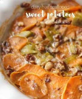Dairy Free Scalloped Sweet Potatoes with Candied Pecans