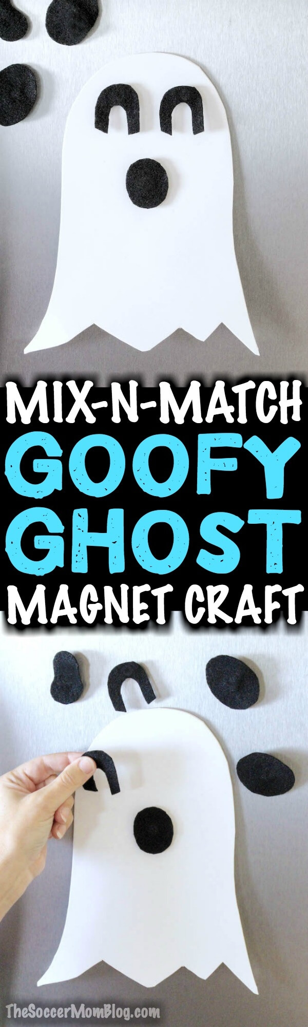 This fridge magnet ghost craft is a fun decoration to make with kids. They'll have a blast switching the pieces around to make lots of goofy ghost faces!