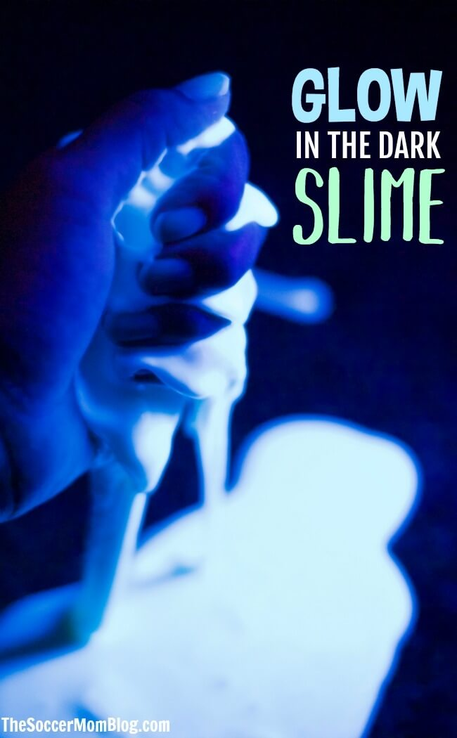 "Your kids will flip for this groovy glow in the dark slime recipe! This ""taste safe"" slime is made with 3 simple edible ingredients."