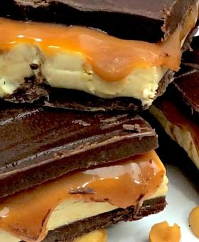 Homemade Peanut Butter Snickers Bars