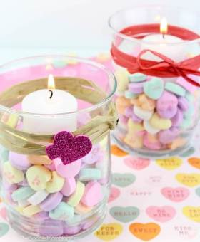 Conversation Heart Votives for Valentine's Day