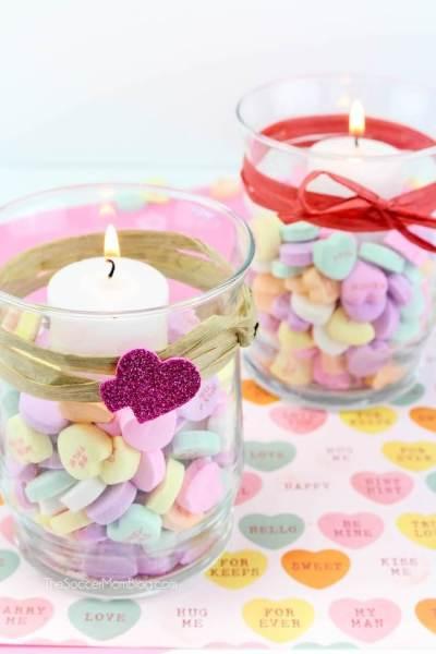 Conversation Heart Votives for Valentine's Day