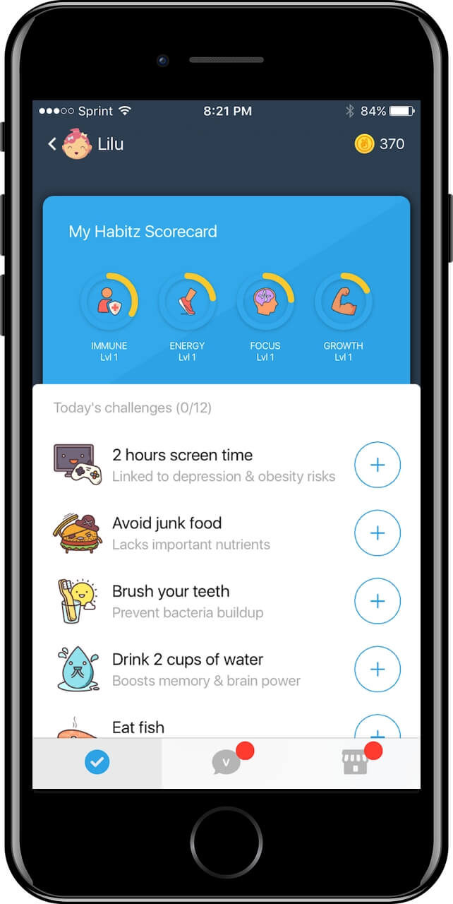 Teach kids to eat healthy food with Habitz app