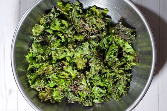 Baked purple kale chips healthy kids snack