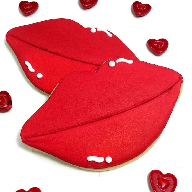Heart Lips Valentines Day Cookies