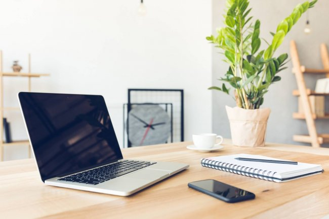 laptop on table - blogging workspace